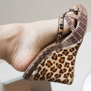 BCBG Leopard Print Wedge Sandal